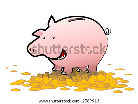 A happy piggy bank stands upon a mountain of gold coins - the savings are a bonus bonanza for it. What a happy pig! - stock photo