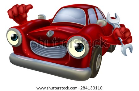 A happy red car mechanic character holding a mechanics spanner and giving a thumbs up - stock photo