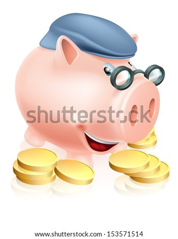 A happy senior piggy bank cartoon character smiling, dressed as an older adult and surrounded by coins. Metaphor for good pension provisions or having saved well for your future - stock photo