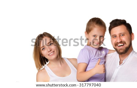 A happy smiling family isolated on  white background.  - stock photo