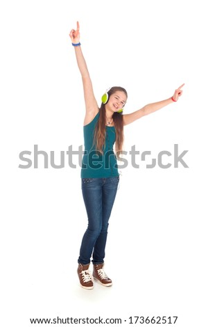 a happy teenager, listen to some music, on a white background