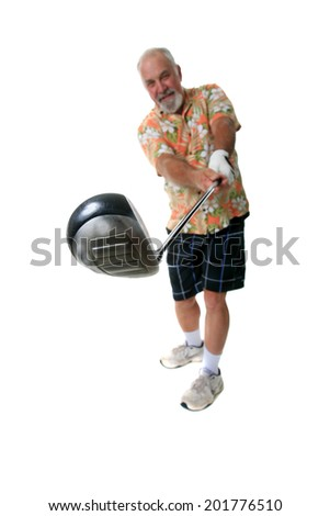 A happy well dressed golf pro shows his best golf swing with his golf club towards the camera. Focus is on the golf club with the golfer slightly out of focus on purpose. Isolated on white