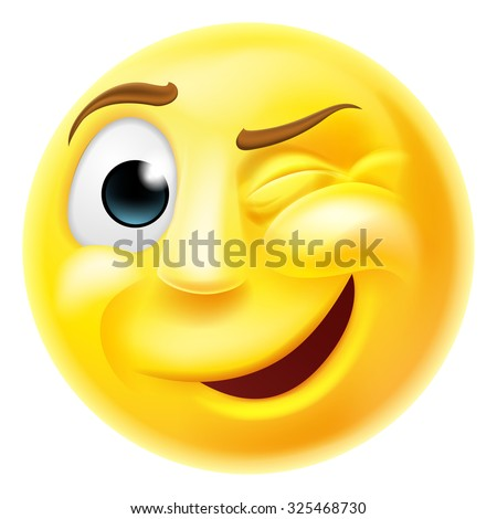 A happy winking emoji emoticon smiley face character winking one eye - stock photo