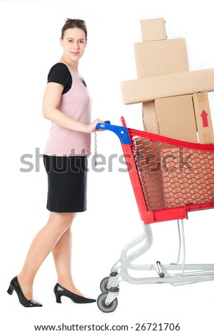 A happy woman in a shopping scenario on white.