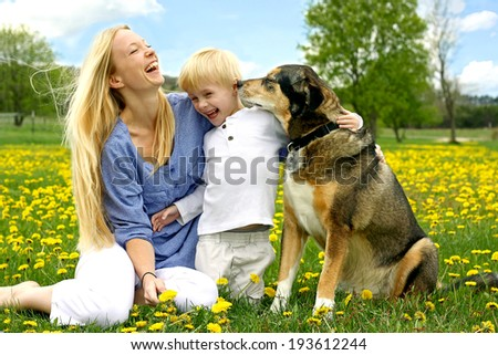 a happy, young mother and her little child are sitting outside in a Dandelion Flower meadow, laughing as the play with their pet German Shepherd Dog. - stock photo