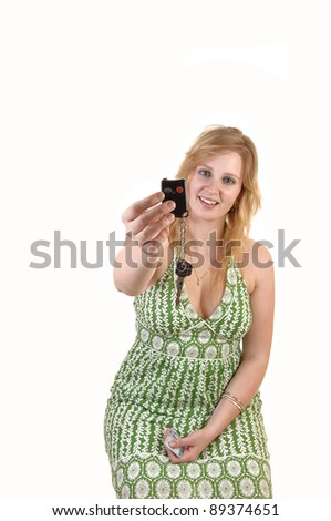 stock photo a happy young teenager girl in a green dress showing happily her new car keys sitting for white 89374651 ... men would bed an attractive stranger if she offered them no strings sex, ...
