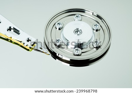 A hard disk drive is a data storage device used for storing and retrieving digital information using rapidly rotating disks (platters) coated with magnetic material / hard disk drive - stock photo