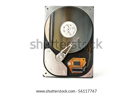 A hard disk isolated on white background - stock photo
