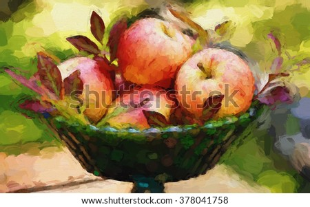A harvest centerpiece filled with apples turned into a colorful autumn style painting