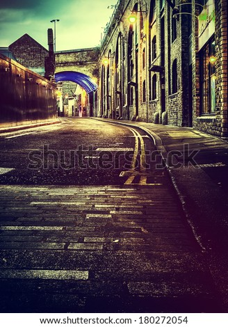 A HDR shot of a london back street - stock photo