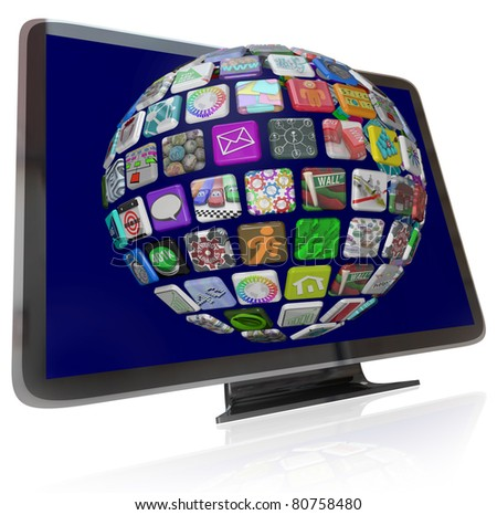 A HDTV television with a sphere of streaming content icons on its screen representing the wide variety of entertainment and information choices available to you - stock photo
