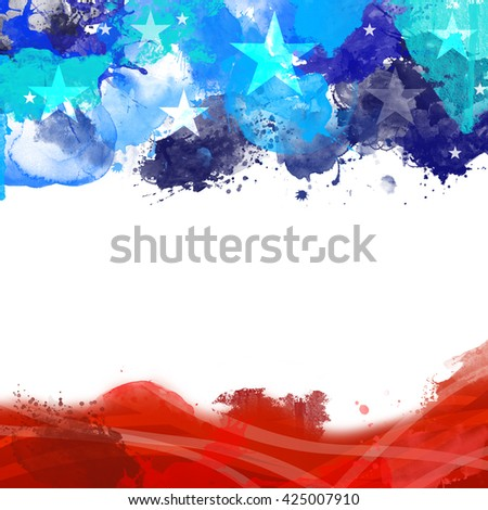 A header footer illustration with United States flag colors on Memorial Day - stock photo