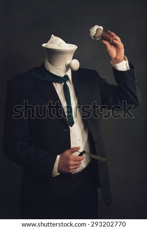 a headless Man in Suit with Razor, Brush and Shaving Bowl