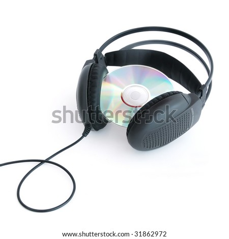 A headphones with CD isolated on white background - stock photo