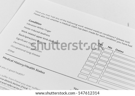 A health insurance application medical information - stock photo
