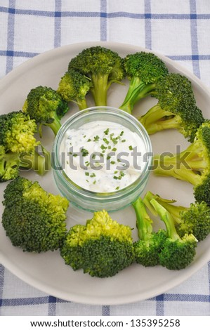 A healthy snack of fresh broccoli and low fat dipping sauce - stock photo