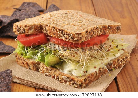 A healthy vegetable sandwich with avocado, alfalfa sprouts, tomatoes and lettuce on sprouted nut and seed bread - stock photo