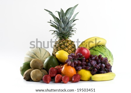 A heap of colorful tropical fruits
