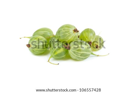 A heap of gooseberries on white background