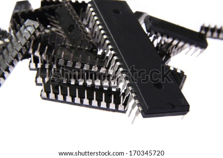 A heap of microprocessors on a isolated background