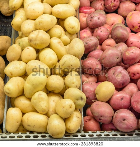 A heap of raw baking , yellow finn and red potatoes tubers in a supermarket at Colfax, Whitman County, Washington, USA. - stock photo