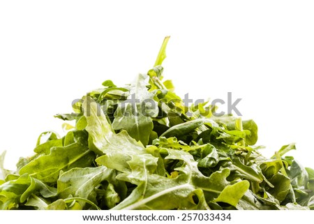 a heap of roquette salad isolated over a white background - stock photo
