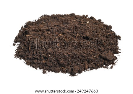 a heap of soil on a white background - stock photo