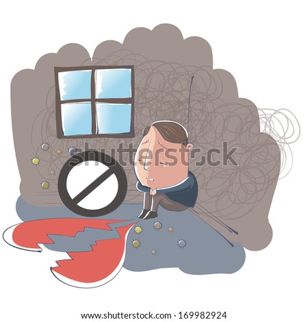 A heart-broken man sitting in the corner of a room. - stock photo