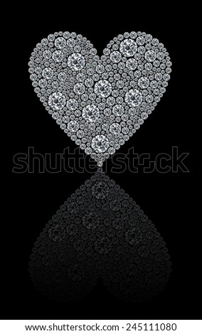 A heart made by brilliant diamonds isolated on a black background with reflection - stock photo