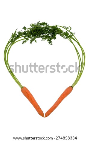 a heart made of organically grown carrots. fresh vegetables and fruits is always healthy. symbolic photo for healthy nutrition. - stock photo