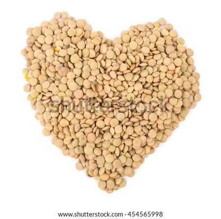 A heart made with lentils