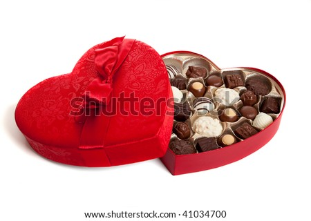 A heart shaped box with Valentine's day candy