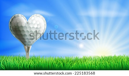 A heart shaped golf ball on its tee in a green grass field golf course. Conceptual illustration for a love of golf - stock photo