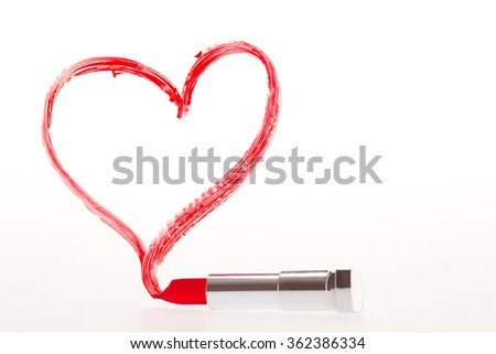 A heart that has been painted with red lipstick - stock photo