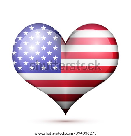 a heart with the flag of United States isolated on a white background