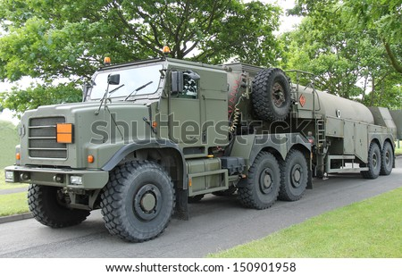 A Heavy Duty Military Army Fuel Tanker. - stock photo