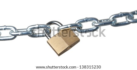 A heavy metal chain is padlocked and pulled tight. - stock photo