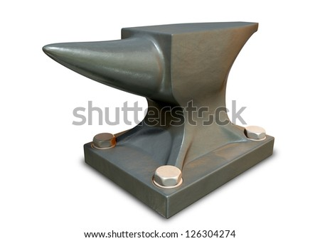 A heavy steel black anvil with for bolts holding it to an isolated background - stock photo