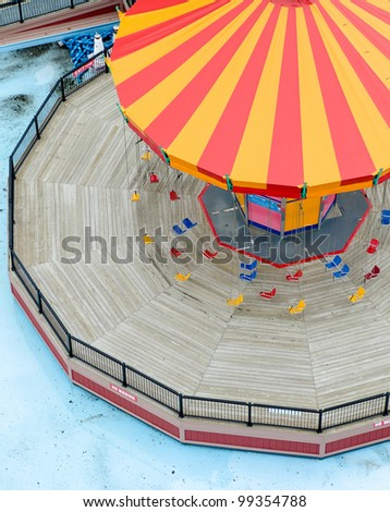 a high-angle view of one of the amusements at navy pier in chicago - stock photo