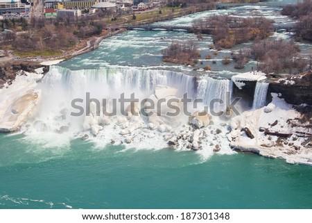 A high angle view of the American Falls (Niagara Falls) - stock photo