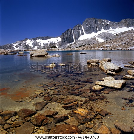 A high country lake named Secret lake located in the Twenty Lakes basin area near Yosemite/  Hidden Lakes