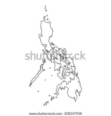 A High detailed Outline of the country of  Philippines