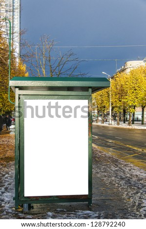 A high dynamic range image of a bus stop with a blank bilboard for your advertising - stock photo