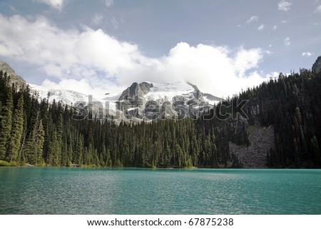 A high mountain glacier lake view. - stock photo