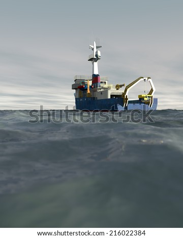 A high quality 3D render of a research ship deploying an ROV with an overcast sky. Fictitious research vessel is a unique design, created and modeled entirely by myself.  - stock photo