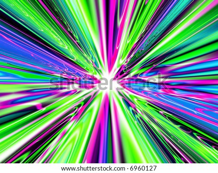 A high res, computer generated image that simulates light at the end of a heavenly tunnel, the speed of light, or a time warp