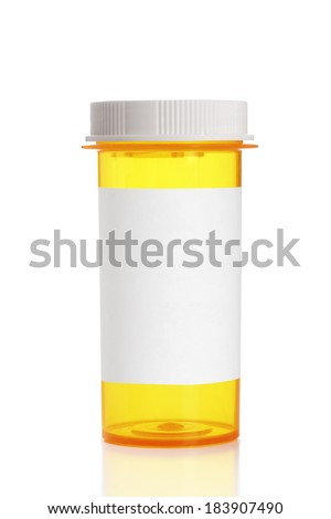 A high resolution medicine bottle with a blank label and a standard cap in place. Add your message to this empty medication bottle.