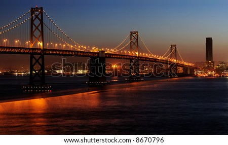 A high-resolution stitched image of Bay Bridge (shot from Treasure Island). Copyspace on top and bottom right. - stock photo