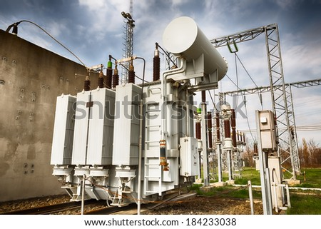 a high voltage distribution equipment station - stock photo