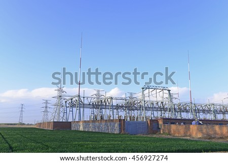 A high voltage power station in the outdoor  - stock photo